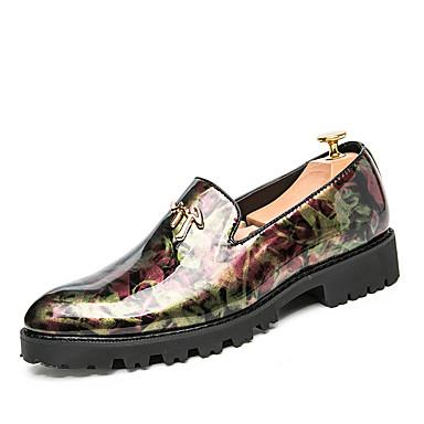 สำหรับผู้ชาย รองเท้าสบาย ๆ หนังเทียม ฤดูร้อนฤดูใบไม้ผลิ ไม่เป็นทางการ / อังกฤษ รองเท้าส้นเตี้ยทำมาจากหนังและรองเท้าสวมแบบไม่มีเชือก ไม่ลื่นไถล สีดำ / สีม่วง / สีเหลือง / พรรคและเย็น / หมุดย้ำ
