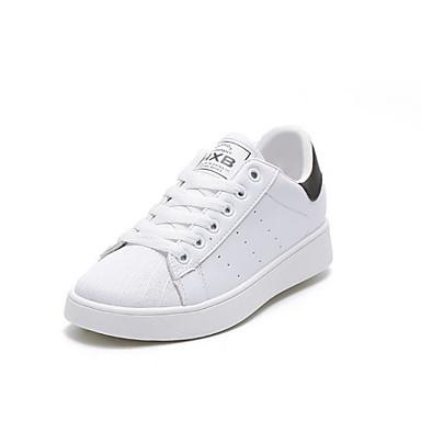 Mujer Zapatos Punto Primavera verano Confort Zapatillas de deporte Tacón Plano Blanco / Negro / Rojo B40pLCM2X