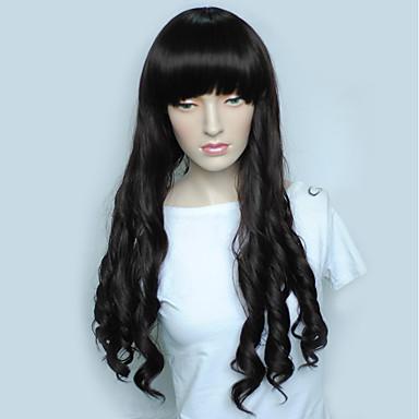 Συνθετικές Περούκες Κυματιστό Κούρεμα με φιλάρισμα Περούκα Μακρύ Μαύρο Συνθετικά μαλλιά Γυναικεία Φυσική γραμμή των μαλλιών Μαύρο