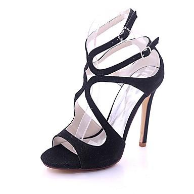 Mujer Zapatos PU Primavera verano Pump Básico Tacones Tacón Stiletto Punta abierta Negro / Plateado / Negro y Plateado 0ldAGsemr