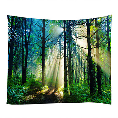 cheap Wall Tapestries-Wall Tapestry Art Decor Blanket Curtain Picnic Tablecloth Hanging Home Bedroom Living Room Dorm Decoration Misty Forest Nature Landscape Sunshine Through Tree