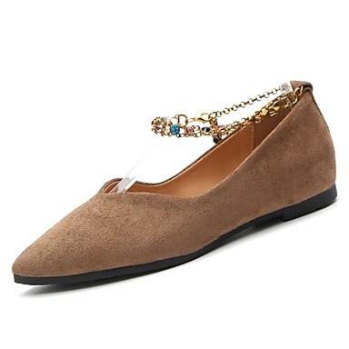 Mujer Zapatos Goma Invierno Confort Bailarinas Dedo Puntiagudo Lentejuela / Remache Negro / Beige / Caqui 4YD2J9p