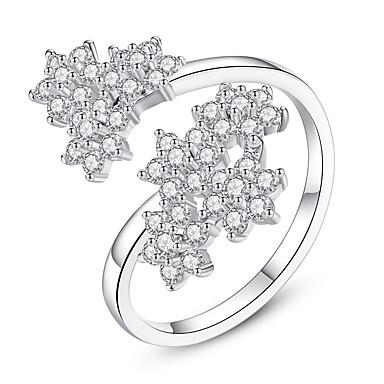 levne Dámské šperky-Dámské manžeta Ring obalovací kroužek Kubický zirkon drobný diamant Stříbrná Zirkon Měď dámy Vintage Módní Svatební Dar Šperky Leaf Shape