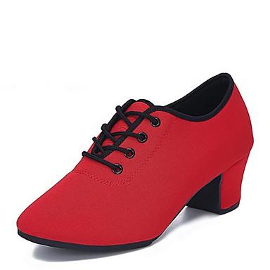 Γυναικεία Μοντέρνα παπούτσια / Αίθουσα χορού Οξφόρδη / Τούλι Δαντέλα μέχρι πάνω Τακούνια Χαμηλό τακούνι Εξατομικευμένο Παπούτσια Χορού Μαύρο / Κόκκινο / Εσωτερικό / EU39