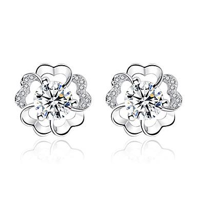 Γυναικεία Cubic Zirconia Κουμπωτά Σκουλαρίκια Λουλούδι κυρίες Γλυκός Μοντέρνα Ζιρκονίτης Σκουλαρίκια Κοσμήματα Ασημί / Βυσσινί Για Καθημερινά Ημερομηνία