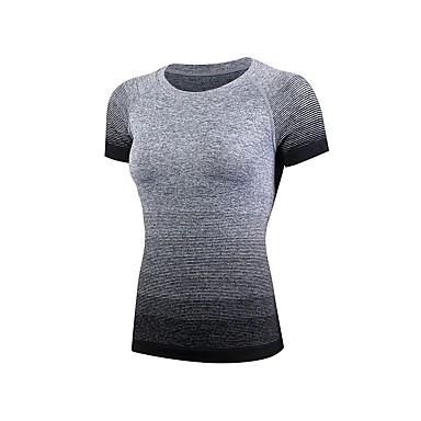 Dame Kompresjonskjorte Ensfarget Trening & Fitness T-Trøye Kompressjonsklær Kortermet Sportsklær Pusteevne Elastisk