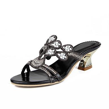 ee1c15083375 Women s Polyurethane Spring   Summer Fashion Boots Sandals Chunky Heel Open  Toe Rhinestone   Crystal   Sparkling Glitter Black   Silver   Blue   Buckle  ...
