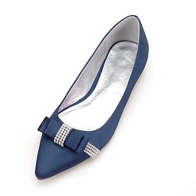 Γυναικεία Γαμήλια παπούτσια Επίπεδο Τακούνι Μυτερή Μύτη Τεχνητό διαμάντι / Φιόγκος Σατέν Ανατομικό Άνοιξη / Καλοκαίρι Μαύρο / Λευκό / Κρύσταλλο