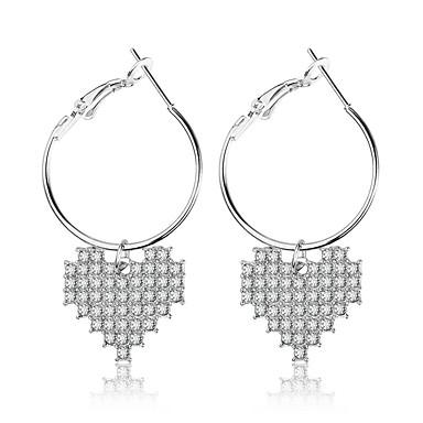 Γυναικεία Κρεμαστά Σκουλαρίκια Καρδιά κυρίες Γλυκός Μοντέρνα Προσομειωμένο διαμάντι Σκουλαρίκια Κοσμήματα Ασημί Για Καθημερινά Εξόδου