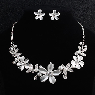 Γυναικεία Σετ Κοσμημάτων Λουλούδι Ευρωπαϊκό Μοντέρνα Μαργαριτάρι Σκουλαρίκια Κοσμήματα Ασημί Για Γάμου Καθημερινά