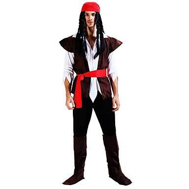 Pirates of the Caribbean Στολές Ανδρικά Γενέθλια Halloween Απόκριες Νέος Χρόνος Γιορτές / Διακοπές Πολυεστέρας Καφέ Αποκριάτικα Κοστούμια Ζωγραφιά N / A