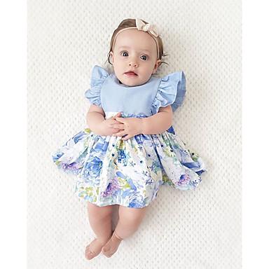 Νήπιο Κοριτσίστικα Μπόχο Πάρτι Αργίες Μονόχρωμο Patchwork Ζακάρ Με Βολάν Με Κορδόνια Patchwork Αμάνικο Φόρεμα Μπλε Απαλό / Χαριτωμένο