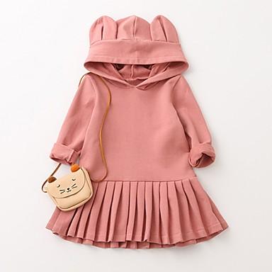 Νήπιο Κοριτσίστικα Ενεργό Βασικό Καθημερινά Αργίες Μονόχρωμο Φιόγκος Πεπαλαιωμένο Στυλ Κλασσικό Μακρυμάνικο Φόρεμα Ανθισμένο Ροζ / Βαμβάκι / Χαριτωμένο / Patchwork / Στάμπα