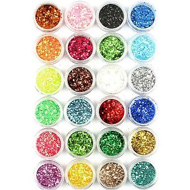 1pc / 1set Τεχνητές Συμβουλές για τα Νύχια Γκλίτερ Πούλιες Για 24 χρώματα τέχνη νυχιών Μανικιούρ Πεντικιούρ Λάμψη