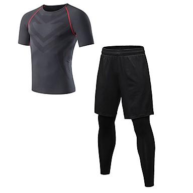 Ανδρικά Activewear Σετ Fitness ΑΘΛΗΤΙΚΑ ΡΟΥΧΑ Ικανότητα να αναπνέει Κολάν Ρούχα σύνολα Κοντομάνικο Μακρύ Παντελόνι Ρούχα Γυμναστικής Ελαστικό