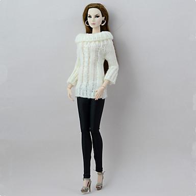 Κούκλα και πουλόβερ κούκλα Διαφορετικά Σώματα Παντελόνια 2 pcs Για Barbie Μοντέρνα Άσπρο / Μαύρο Υφασμα Πολυ / Βαμβάκι Μάλλινο Ύφασμα Κορυφή / Παντελόνια Για Κορίτσια κούκλα παιχνιδιών