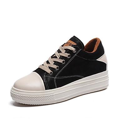 Mujer Zapatos Tela Primavera Confort Zapatillas de deporte Media plataforma Dedo redondo Negro / Beige Visite Discount Neuf yQjlDJ3lcx