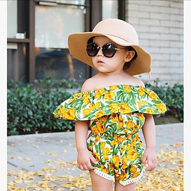 Νήπιο Κοριτσίστικα Μπόχο Αργίες Εξόδου Φλοράλ Ζακάρ Φούντα Κοντομάνικο Κανονικό Μπλούζα Πράσινο του τριφυλλιού / Χαριτωμένο