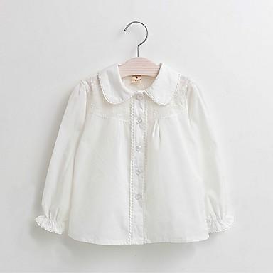 Νήπιο Κοριτσίστικα Καθημερινό Καθημερινά Μονόχρωμο Κεντητό Μακρυμάνικο Κανονικό Βαμβάκι Πουκάμισο Λευκό