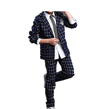povoljno Odjeća za dječake-Djeca Dječaci Jednostavan Ležerne prilike Osnovni Party Dnevno Jednobojni Karirani uzorak Formalno Style Retro Sa stilom Dugih rukava Regularna Normalne dužine Pamuk Komplet odjeće Navy Plava