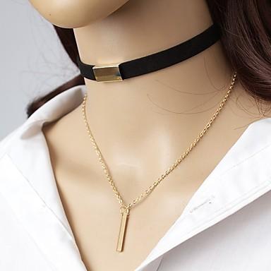 povoljno Modne ogrlice-Žene Choker oglice Ogrlice-kragna Zakovica Jednostavan Elegantno Koža Legura Braon Crn Ogrlice Jewelry Za Izlasci