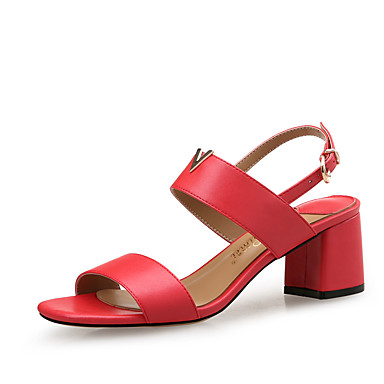 Mujer Zapatos PU microfibra sintético Verano Confort Sandalias Tacón Cuadrado Negro brufjCh
