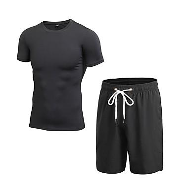 Herre Aktive Klær Sett Trening Sports Pusteevne Leggings Treningsdrakt Kortermet Short Pant Sportsklær Elastisk