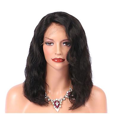 Αγνή Τρίχα Δαντέλα Μπροστά Περούκα στυλ Βραζιλιάνικη Κυματιστό Φύση Μαύρο Περούκα 130% Πυκνότητα μαλλιών με τα μαλλιά μωρών Φυσική γραμμή των μαλλιών Γυναικεία Μεσαίο Περούκες από Ανθρώπινη Τρίχα