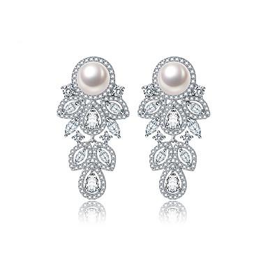 povoljno Modne naušnice-Žene Kubični Zirconia mali dijamant Sitne naušnice Cvijet dame Europska Moda Elegantno Zircon Naušnice Jewelry Pink Za Vjenčanje Zabava / večer