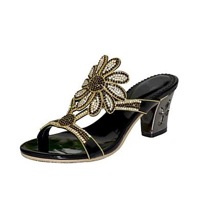 Mujer Zapatos Poliuretano Primavera / Verano Botas de Moda Sandalias Tacón Cuadrado Puntera abierta Pedrería / Cristal / Purpurina Dorado YU48fZvWM