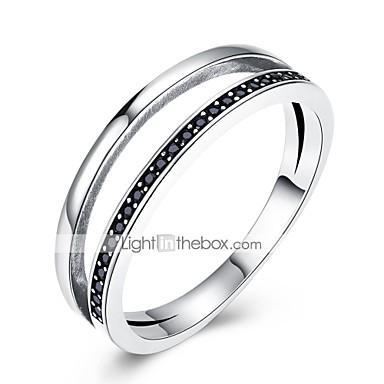Dame Band Ring Kubisk Zirkonium Sølv Zirkonium S925 Sterling Sølv Geometrisk Form damer Klassisk Vintage Daglig Arbeid Smykker