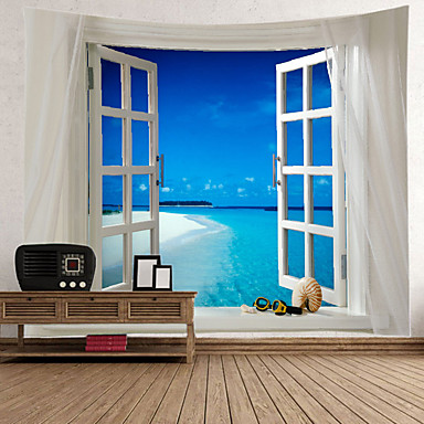 cheap Wall Tapestries-Window Landscape Wall Tapestry Art Decor Blanket Curtain Picnic Tablecloth Hanging Home Bedroom Living Room Dorm Decoration Polyester Sea Ocean Beach