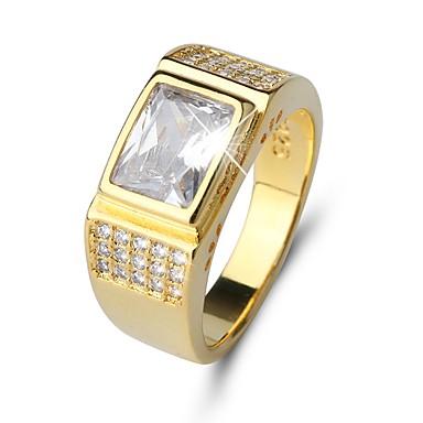 levne Pro muže-Pánské Band Ring Diamant Kubický zirkon Zlatá Zirkon Titan Ocel Circle Shape Klasické Vintage Elegantní Svatební Denní Šperky