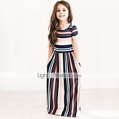 Νήπιο Κοριτσίστικα Ενεργό Καθημερινά Εξόδου Ριγέ Κοντομάνικο Φόρεμα Μαύρο / Βαμβάκι / Χαριτωμένο