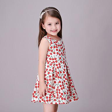 Παιδιά Κοριτσίστικα Ενεργό Πάρτι Εξόδου Στάμπα Κοντομάνικο Φόρεμα Ρουμπίνι / Βαμβάκι / Χαριτωμένο