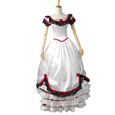 Rococo Victorian Στολές Φορέματα Κοστούμι πάρτι Χορός μεταμφιεσμένων Κόκκινο και Άσπρο Πεπαλαιωμένο Cosplay Ελαστικό Σατέν Κοντομάνικο Μπαλούν
