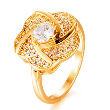 Γυναικεία Band Ring Διαμάντι Cubic Zirconia μικροσκοπικό διαμάντι Χρυσό Επιχρυσωμένο Geometric Shape κυρίες Μοντέρνα Γάμου Δώρο Κοσμήματα HALO