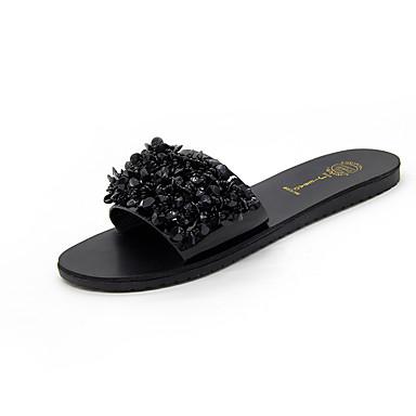 levne Dámské sandály-Dámské Sandále s plochým paty PU Jaro Pohodlné Sandály Rovná podrážka Černá / Stříbrná