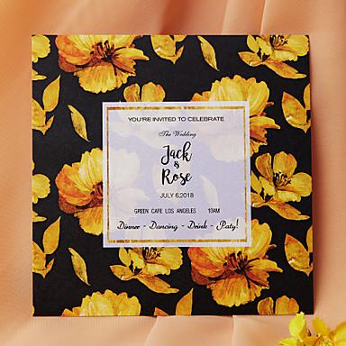 Flat Kort Bryllupsinvitasjoner 50-pack / 20-pack - Invitasjonssett Kunstnerisk Stil Perle-papir