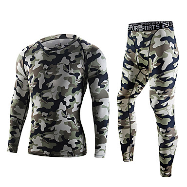 ef51a7e4d8 [$30.89] Men's Crew Neck Running Base layer Sports Camo / Camouflage  Compression Clothing Leggings Clothing Suit Fitness Gym Workout Exercise  Long ...
