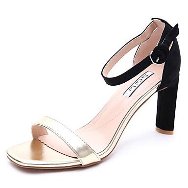 Mujer Zapatos PU Verano Confort / Pump Básico Sandalias Tacón Cuadrado Punta abierta Beige / Verde 2018 Nouveau Rabais FdTw02y