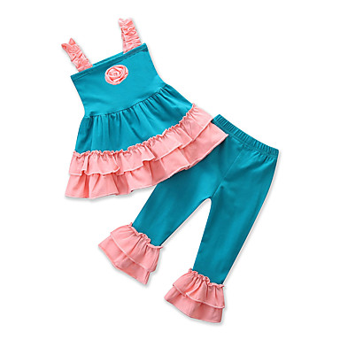 cheap Baby & Kids-Toddler Girls' Casual Active Daily Going out Patchwork Jacquard Flower Ruffle Lace up Sleeveless Regular Regular Cotton Clothing Set Blue