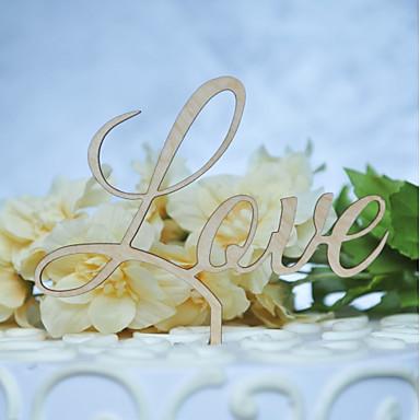 Διακοσμητικό Τούρτας Κλασσικό Θέμα Γάμος Με κοψίματα Ξύλινο/Μπαμπού Γάμου Γενέθλια με Οριζόντια κοίλη έξοδος 1 OPP
