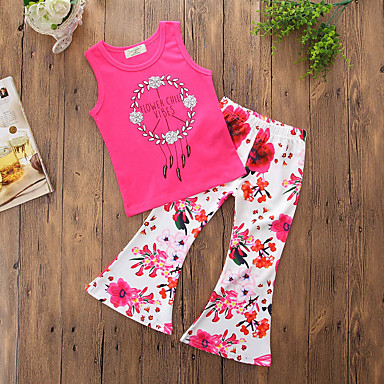 cf54c31c9b2f Toddler Girls' Simple Casual Daily Going out Floral Stylish Floral Slim  Sleeveless Regular Regular Cotton Polyester Clothing Set Fuchsia / Print  #06561187
