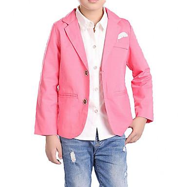povoljno Odjeća za dječake-Djeca Dječaci Jednostavan Ležerne prilike Dnevno Jednobojni Print Dugih rukava Pamuk Odijelo i sako Plava