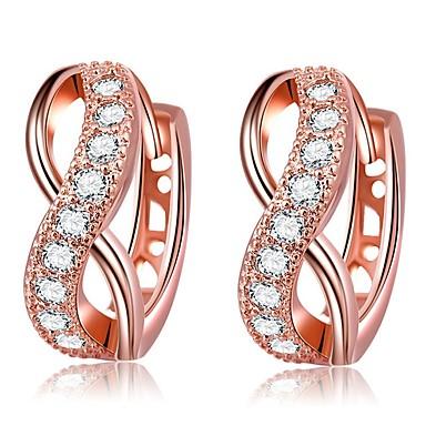 povoljno Modne naušnice-Žene Kubični Zirconia Klipse beskraj Klasik Moda Zircon Pozlaćeni Naušnice Jewelry Rose Gold Za Vjenčanje Dnevno