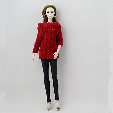 levne Doplňky pro panenky-Svetr pro panenky a svetr Oddělená těla Kalhoty 2 pcs Pro Barbie Módní červená + černá Textil Polybavlna Vlněná tkanina Vrchní deska / Kalhoty Pro Dívka je Doll Toy