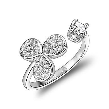 billige Motering-Dame Håndledd Ring Micro Pave Ring Kubisk Zirkonium Sølv Zirkonium Sølvplett Geometrisk Form Klassisk Bryllup Aftenselskap Smykker Blomst Sløyfer