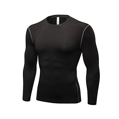 Ανδρικά Μπλούζα συμπίεσης Μονόχρωμο Φυσική Κάτάσταση Φούτερ Ρούχα συμπίεσης Μεγάλα Μεγέθη Μακρυμάνικο Ρούχα Γυμναστικής Ικανότητα να αναπνέει Ελαστικό