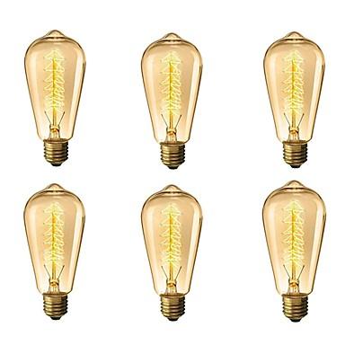 6pcs 40 W E26 / E27 ST64 Θερμό Λευκό 2300 k Ρετρό / Με ροοστάτη / Διακοσμητικό Λαμπτήρας πυρακτώσεως Vintage Edison 220-240 V